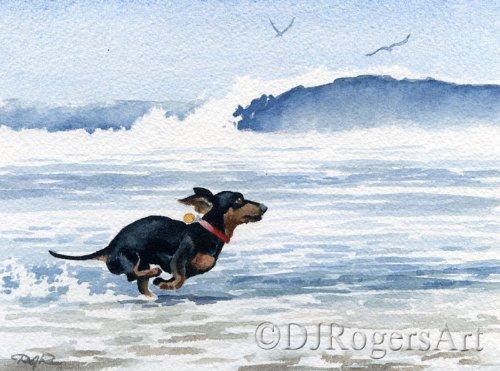 Running Dachshund Painting