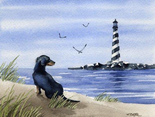 Black Dachshund at the Beach